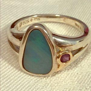 Opal & Amethyst Silver & 14k Gold Ring